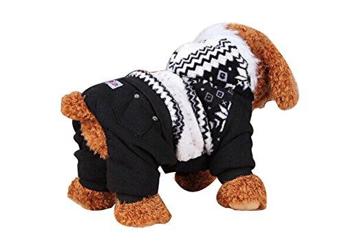 Blancho confortable Coton d'hiver pour chien pour animal domestique Vêtements (Noir, 21 x 39 x 29 cm)