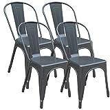 Set di 4 Sedie da Pranzo in Metallo, con Schienale Stile Vintage Impilabile Design Industriale ,per Ristoranti, per Matrimoni, Caffè, Patio (grigio)