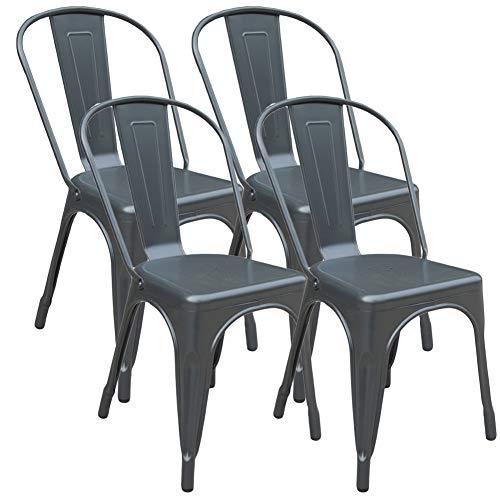 Jinhuichair Junto de 4 sillas en Color Gunmetal Silla Mobiliario de Cocina Silla de Comedor para caf