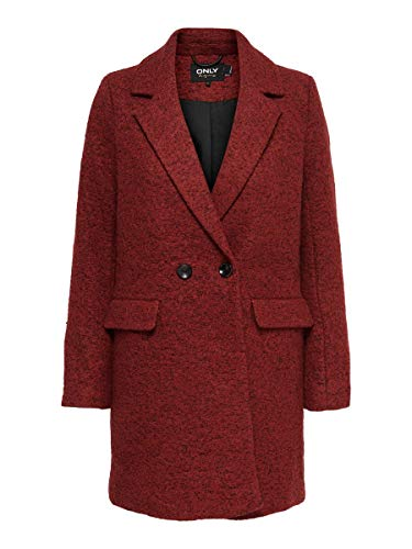 ONLY Damen ONLNEWALLY Wool Coat CC OTW Wollmantel, Fired Brick, L