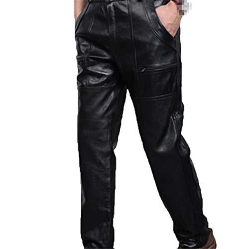 Laoling Pantalones de Cuero Rectos de Talla Grande para Hombre de Otoño Invierno, Pantalones de Motocicleta Gruesos para Hombre, Pantalones de Cuero Sueltos a Prueba de Viento Cowhide Cotton Layer 38