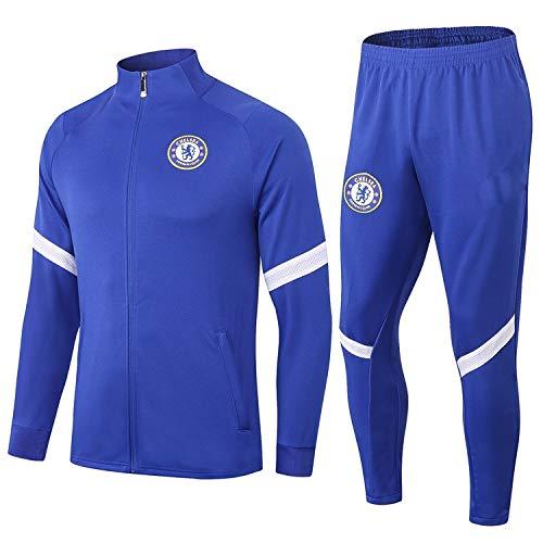 PARTAS Jacke voller Hülse Chelsea Trainingsanzug 2 Stück Sets Tracksuits Football Wear Verein Uniform Chelsea Wettbewerb Anzug (Size : L)