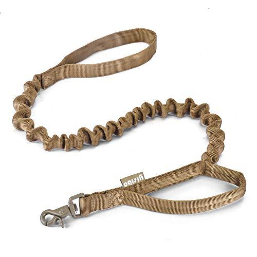 yisibo Taktische Bungee Hundeleine, Nylon Schnellspanner Ausbildung Gehen Führt Seil mit Kontrollgriff für Mittel Große Hunde(Braun)