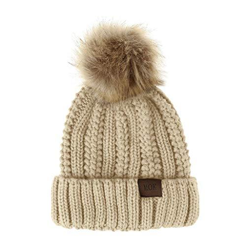 Womens Winter Beanie Hat Satin Lined Faux Fur Pom Beanies Hat for Women Winter Warm Knit Hats Stretchy Warm Girls Hat