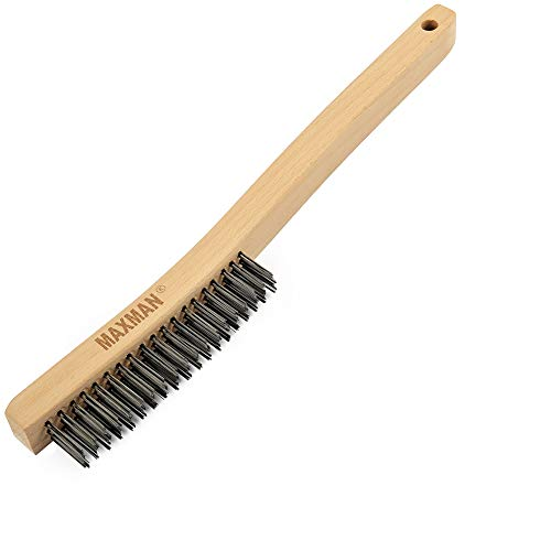 """Wire Brush,Heavy Duty Carbon Steel Wire Scratch Brush for Cleaning Rust with 14"""" Long Curved Beechwood Handle,Large"""