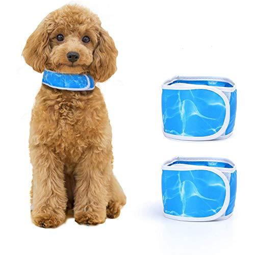 Nobleza - Collar Refrigerante Perro |Paquete de 2| Correa de Perro refrescante Cómodo Collar de Gato Bandana,Ajustable Dog Cooling Collar,Azul Talla S, Apto para Cuello de 30cm a 44 cm