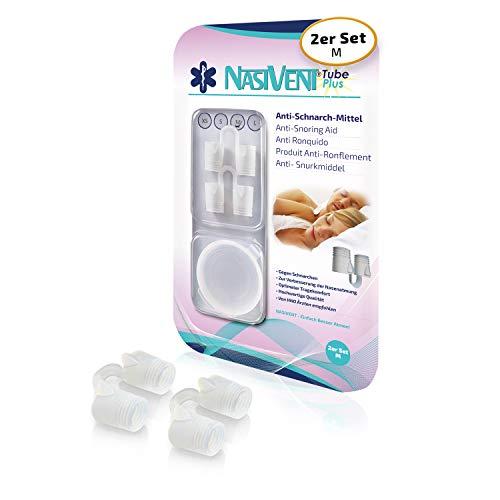 NASIVENT Tube Plus - Premium Anti Schnarch Mittel - verbesserte Nasenatmung - Nasenspreizer - einzigartig dank innovativer Haltezapfen - Schnarchstopper aus hochwertigem Silikon - (2x Gr.M)