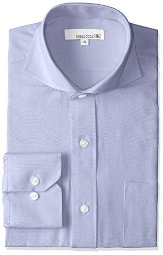 [ドレスコード101] オックスフォードシャツ ドレスシャツ 長袖 ワイシャツ Yシャツ シャツ メンズ スリム カジュアル DC7 パープル カッタウェイ S
