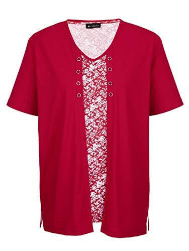 m. collection Damen Doppelpack Shirts Halbarm in Beere bestehend aus einem rundum bedruckten Shirt und einem Shirt in Doppel-Optik
