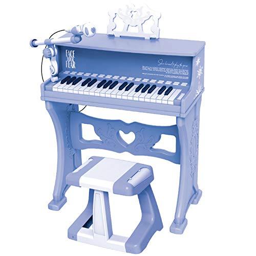 AAFF Kinder Piano 37 Tasten Keyboard Hocker Klavier Spielzeug Mikrofon Musikinstrument, Kinderinstrument Erste Musikerfahrungen, Jungen Mädchen Kleinkinder Spielzeug,A