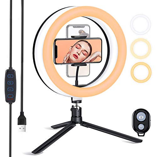 ESDDI Ringleuchte, 10'' LED Ringlicht mit Stativ, Farbtemperatur und Helligkeit Einstellbar, mit Telefonhalter, für Tiktok, Live-Stream, YouTube, Make-up