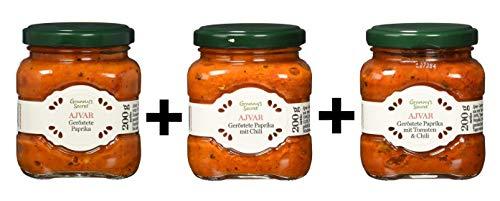 Granny's Secret Ajvar, pimientos asados, pimientos asados con chile, pimientos asados con tomates y chiles, paquete de 3 (3x200g)