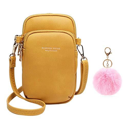 Flywill Bolso de mano de piel para mujer, para el teléfono móvil, tarjetero, cartera de hombro, amarillo (Amarillo) - XieKuaBao-O-Huang+FenQiu