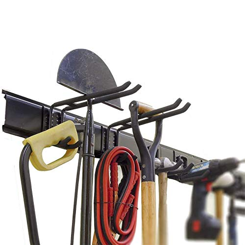 Ultrawall Garage Tool Organizer Wall Mount, 9 PCS Adjustable Storage System,Heavy Duty Steel Wall Holders for Tools, Wall Mount Tool Organizer, Garden Tool Organizer(6 Hooks, 3 Rails)