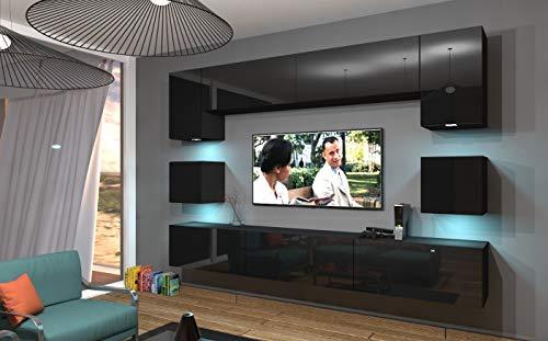 Home Direct NOWARA N1, Modernes Wohnzimmer, Wohnwände, Wohnschränke, Schrankwand (Schwarz MAT Base/Schwarz HG Front, Möbel)