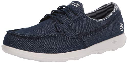 Skechers Women's GO Walk LITE-136072 Boat Shoe, Denim, 8 Medium US