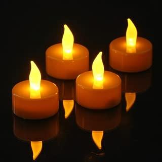 Set of 12 Pumpkin Color LED Tea Lights, Battery Operated. Flickering Amber LED