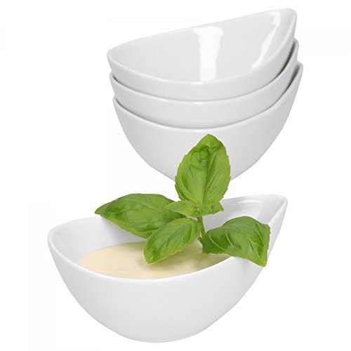 Van Well 4-TLG. Dipp-Schalenset Büfett | Amuse Bouche | Servier-Schälchen | Sushi, Snacks & Dessert | Porzellan-Schälchen in Tropfenform | Gastro