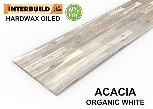 Interbuild Encimeras de Cocina de Madera Maciza de Acacia, 2200x635x26 mm, Blanco orgánico, 2 Piezas/Paquete