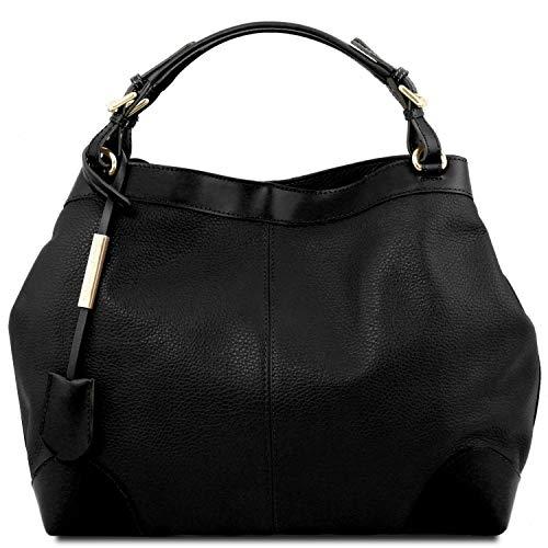 Tuscany Leather Ambrosia Borsa shopping in pelle morbida con tracolla Nero