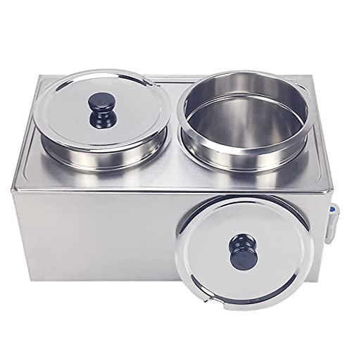 T-CAT Bain Marie - Calentador de alimentos (acero inoxidable, 2 recipientes, 1200 W, con grifo de drenaje, 2 x 9 L)
