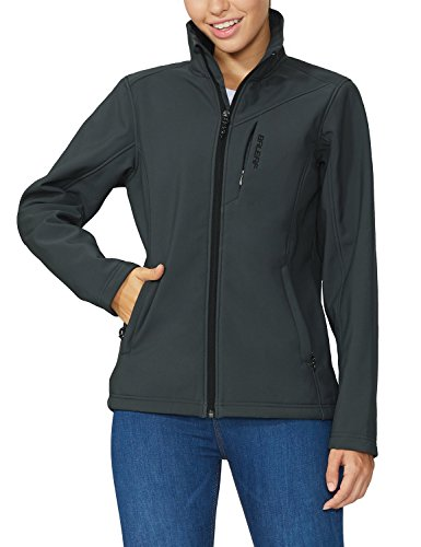 BALEAF Women's Softshell Outdoor Jacket Waterproof Windproof Fleece Lined Winter Coat Gray Size L