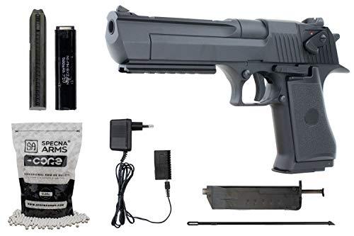 Softair Cyma CM121 Desert Eagle Metall Pistole AEP Airsoft Set + 5000 hochwertige Softairkugeln inkl. Akku & Ladegerät Vollautomatisch & Semi Kal. 6mm BB<0,5J cm.121 Deagle Schwarz