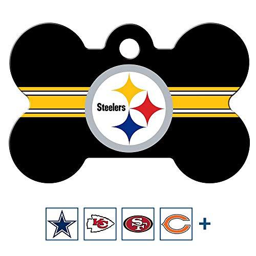 GoTags Personalized NFL Sports Team Dog Tags, Custom Engraved Pet ID Tag, Bone Shape