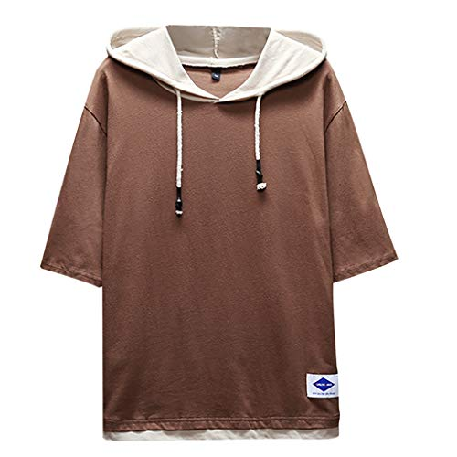 TOPUNDER Men's Summer Fashion Casual Patchwork Hoodie T-Shirts Short Sleeves Top Blouse Coffee
