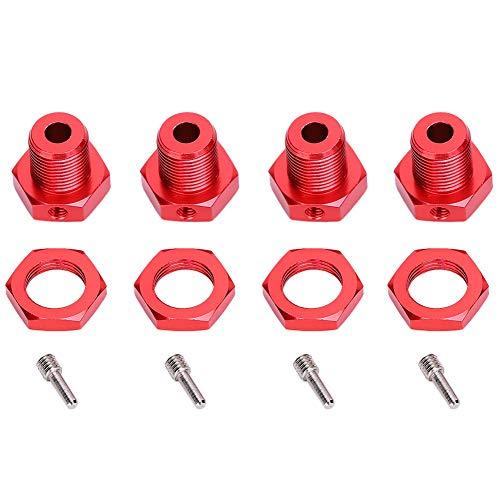 Alomejor1 Mozzo Esagonale Ruota 4 Pezzi Combinatore di Pneumatici in Lega di Alluminio da 5 mm/0,2 Pollici con controdado e perni per TRAXXAS E ‑ REVO 1/10 Accessorio per Auto RC per Auto(Rosso)