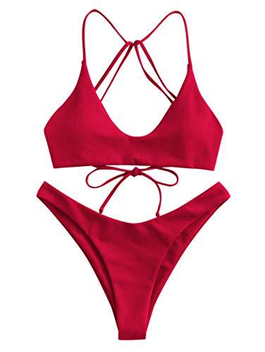 ZAFUL Damen Solide Lace Up Riemchen High Cut Bikini Set Rot M