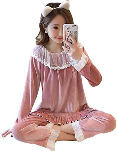 Comfortable Cotton Pajamas Ladies Casual Pyjamas Sets Gold Velvet Homewear Sleepwear Women's Two Piece Nightwear (Color : A, Size : Large)