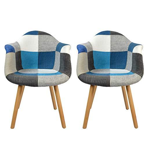 N A to MUEBLES HOME - Juego de 2 sillas de comedor modernas de estilo de mediados de siglo, tapizadas con tejido, sillón para cocina, mostrador, salón, recepción, sala de estar, sillas auxiliares