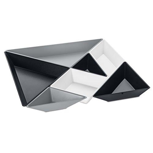 Koziol 3480472Tangram Ready set ciotola da portata, termoplastica, Cool Grey/Cosmos in cotone nero/bianco
