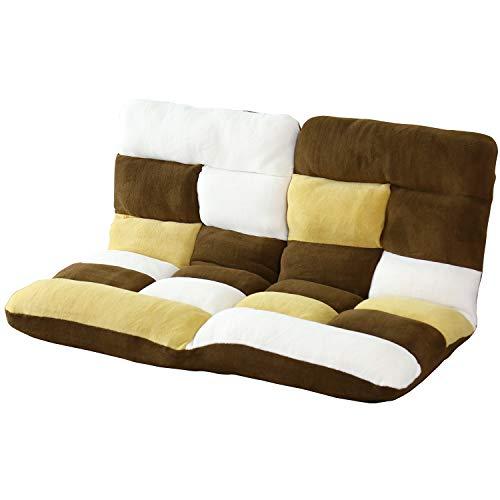 DORIS 座椅子 2人掛け ローソファ フロアソファ 左右独立リクライニング 奥行調整可能な2箇所の14段階ギア搭載 ふっくらサンゴマイヤー生地 パッチワークブラウン ピオンセ