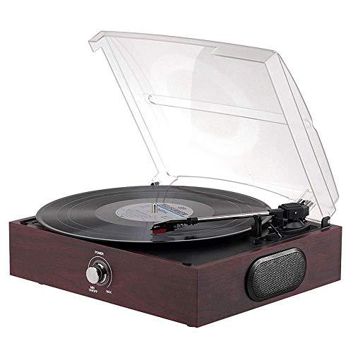KSW_KKW Vintage Plattenspieler Walnussholz Plattenspieler Geschwindigkeit 33, 45 und 78 Vinyl-Player, Transparente Staubschutzabdeckung, Ausgang Zum externen Lautsprecher