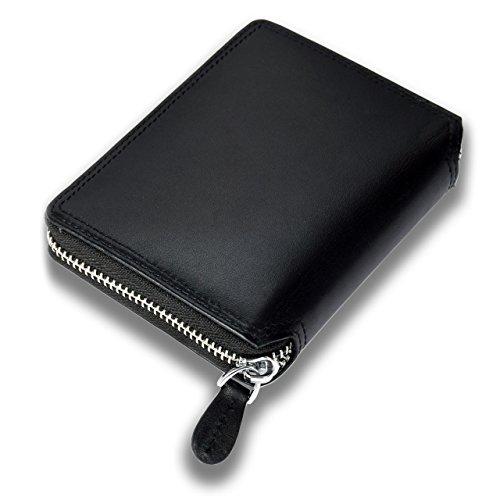 Portafoglio Uomo Classico di Grande Capacità con 18 Tasche in Vera Pelle di Qualità con Cerniera Lampo e Protezione RFID/NFC Minimalista