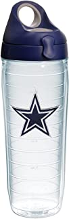Tervis NFL Dallas Cowboys Primary Logo Tumbler with Emblem and Navy with Gray Lid 24oz Water Bottle, Clear