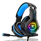 Gaming Headset PS4 Headset Pro 7.1 Surround Sound Noise Canceling Flexible Mic with 2pcs Mic Cover RGB LED Light Memory Earmuffs for Xbox one Nintendo Switch PC