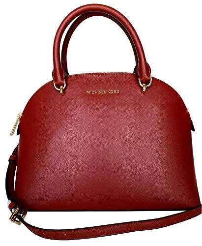 Michael Kors Large Emmy Women's Leather Shoulder Dome Satchel Bag (Scarlet)