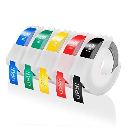 Upwinning kompatibel Prägeband als Ersatz für Dymo 9mm 3D Vinyl-Prägeetiketten weiß auf schwarz/blau/rot/gelb/grün Schriftbänder für Omega Junior Etikettenprägegerät, 5er-Pack