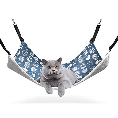 ComSaf Reversible Cat Hammock, Breathable Pet Cage Hammock with Adjustable Straps and Metal Hooks,...