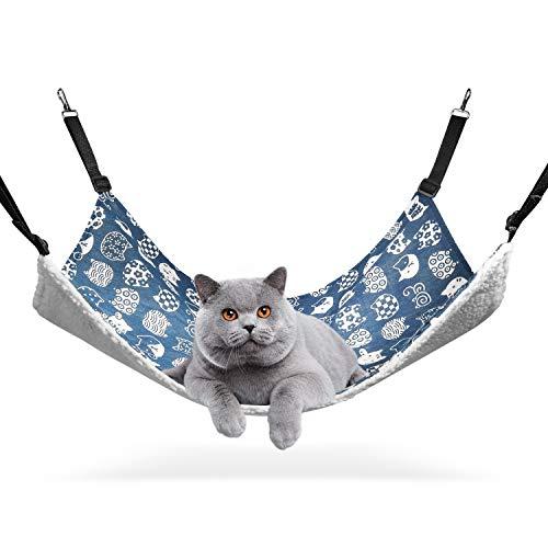 ComSaf 猫 ハンモック ベット ゲージ用 昼寝 夏冬両用 ヒモ調整可能 耐荷重10KG 56x48cm 子猫成猫適用 (ブルー猫)