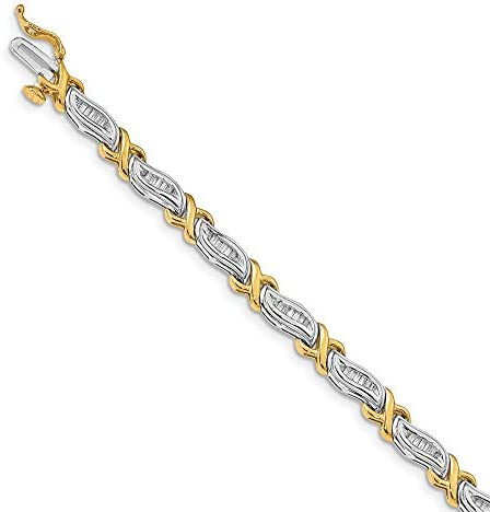 Solid 14k Yellow and White Gold Two Tone Gold 1Ctw Baguette Diamond Bracelet 7 Width 5mm product image