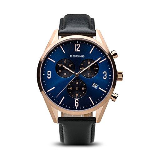 BERING Reloj Analógico Classic Collection para Hombre de Cuarzo con Correa en Cuero y Cristal de Zafiro 10542-567
