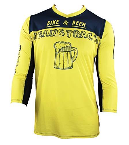 Jeanstrack Bike & Beer Camiseta técnica MTB, Unisex Adulto, Amarillo, L
