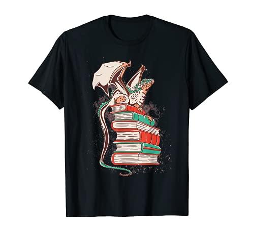 Grafica Drago Per Amanti Di Libri Fantasy E Lettura Ragazzi Maglietta