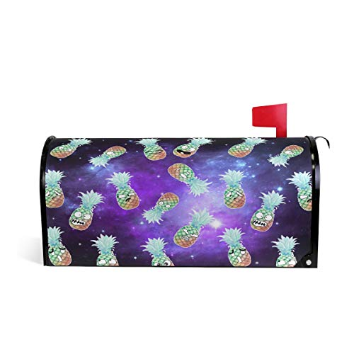 ZZKKO Galaxy Emoji ananas Magnetische mailbox Cover Wrap Post Letter Box Cover voor buiten Tuin Home Decor Grote Grootte 25,5 x 20,8 Inch 25.5