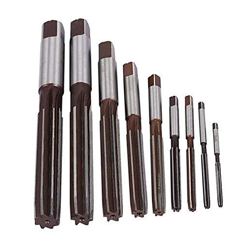 Slscyx 9Pcs Mano Reamermm 3mm 4mm 5mm 6mm 8mm 10mm 12mm 14mm 16mm precisión H8 9SiCr Recto Shank Herramientas Manual-Purpose