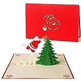 Diese-Klappkarten 3D Weihnachtskarte mit Umschlag, Weihnachtsbaum Santa Claus Weihnachtsmann, Gutschein, Klappkarte, originell, Adventskarte, Geschenkidee, Frohe Weihnachten, Merry Christmas Advent